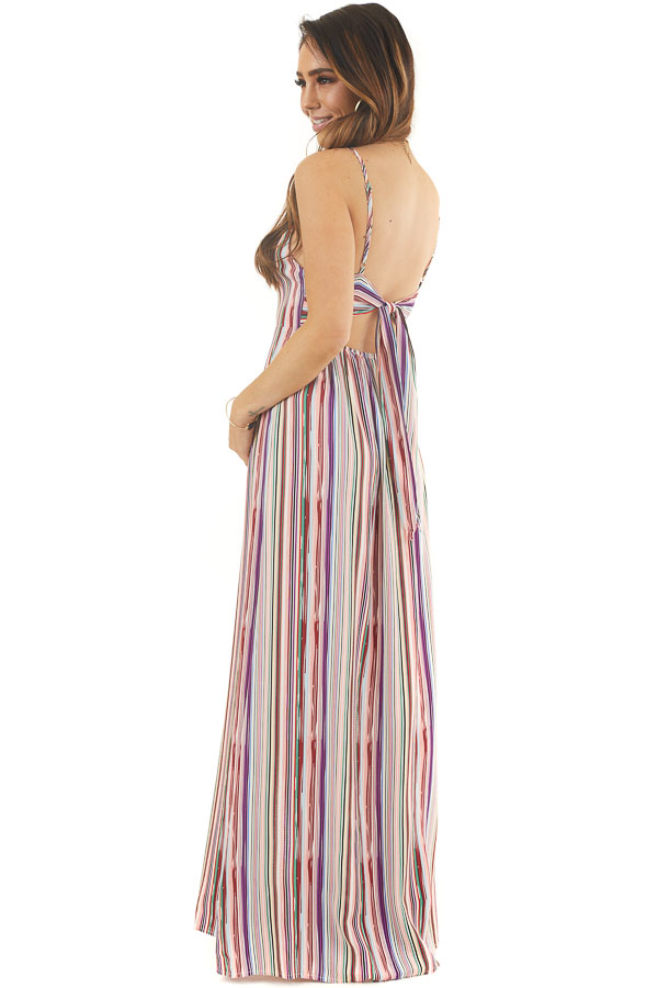 Multicolor Striped Button Up Maxi Dress with V Neckline side full body