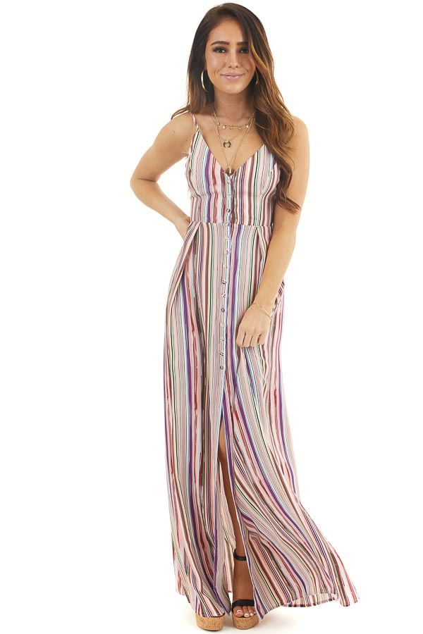 Multicolor Striped Button Up Maxi Dress with V Neckline front full body