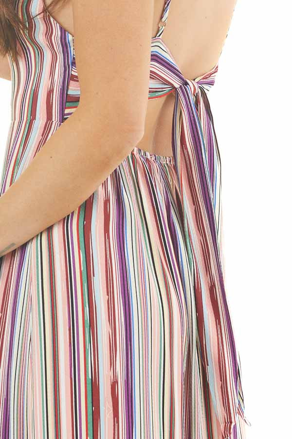Multicolor Striped Button Up Maxi Dress with V Neckline detail
