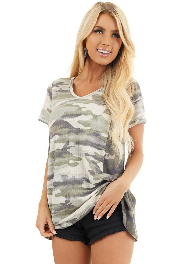 Two Toned Camo Waffle Knit V Neck Top with Short Sleeves front close up