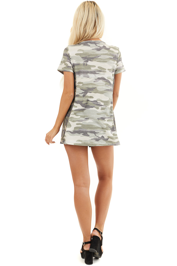 Two Toned Camo Waffle Knit V Neck Top with Short Sleeves back full body