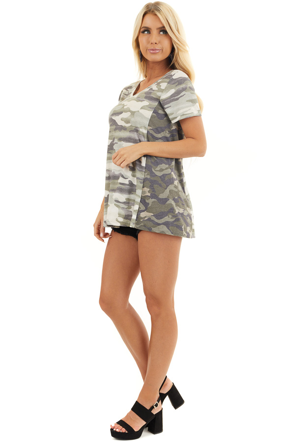 Two Toned Camo Waffle Knit V Neck Top with Short Sleeves side full body