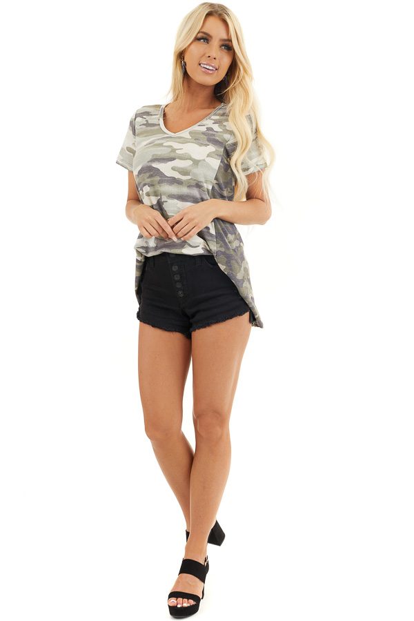 Two Toned Camo Waffle Knit V Neck Top with Short Sleeves front full body