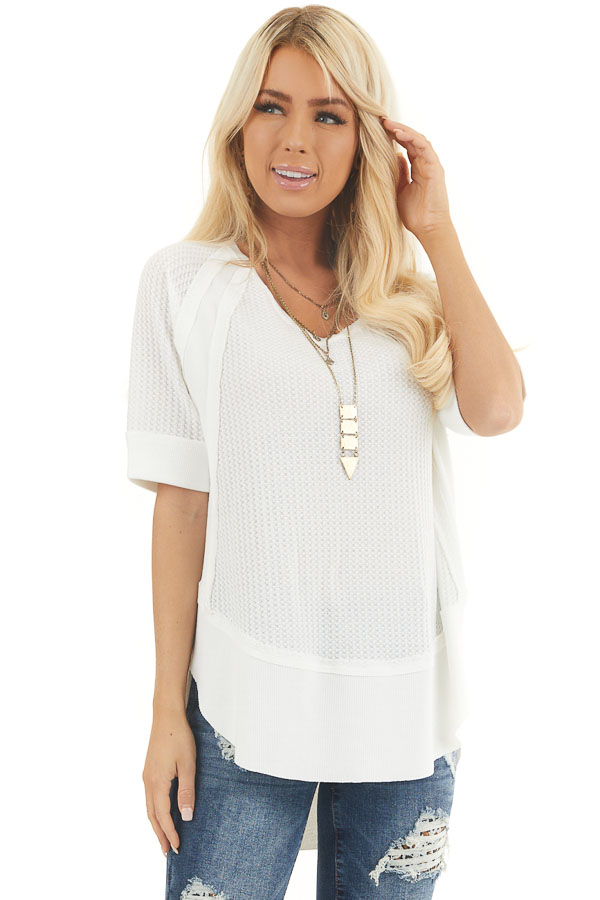 White Short Sleeve Waffle Knit Top with Ribbed Hemline front close up