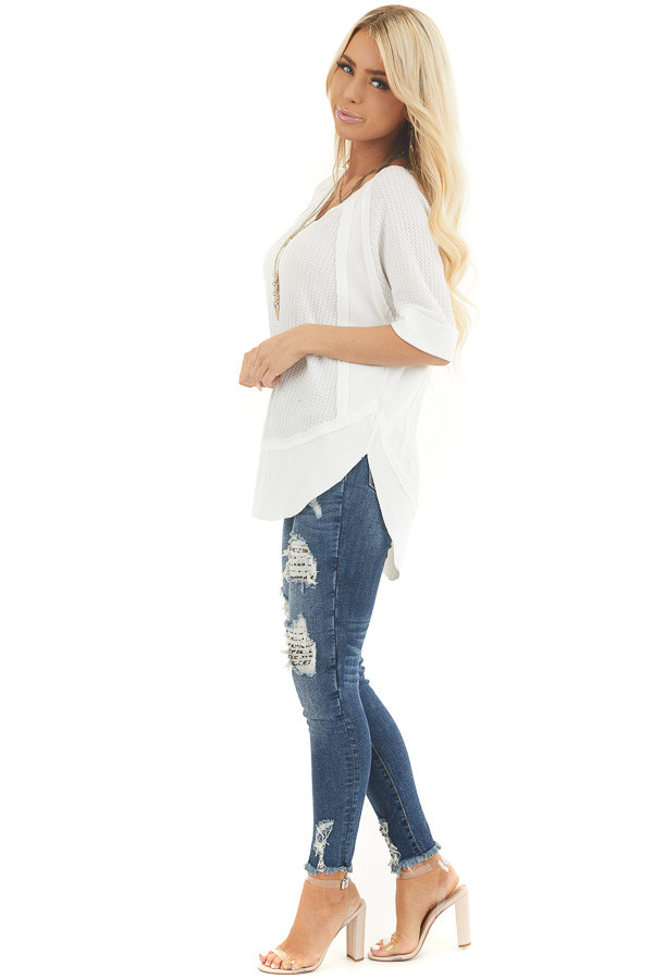 White Short Sleeve Waffle Knit Top with Ribbed Hemline side full body