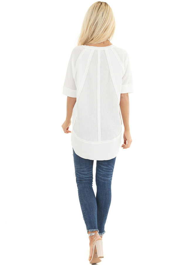 White Short Sleeve Waffle Knit Top with Ribbed Hemline back full body
