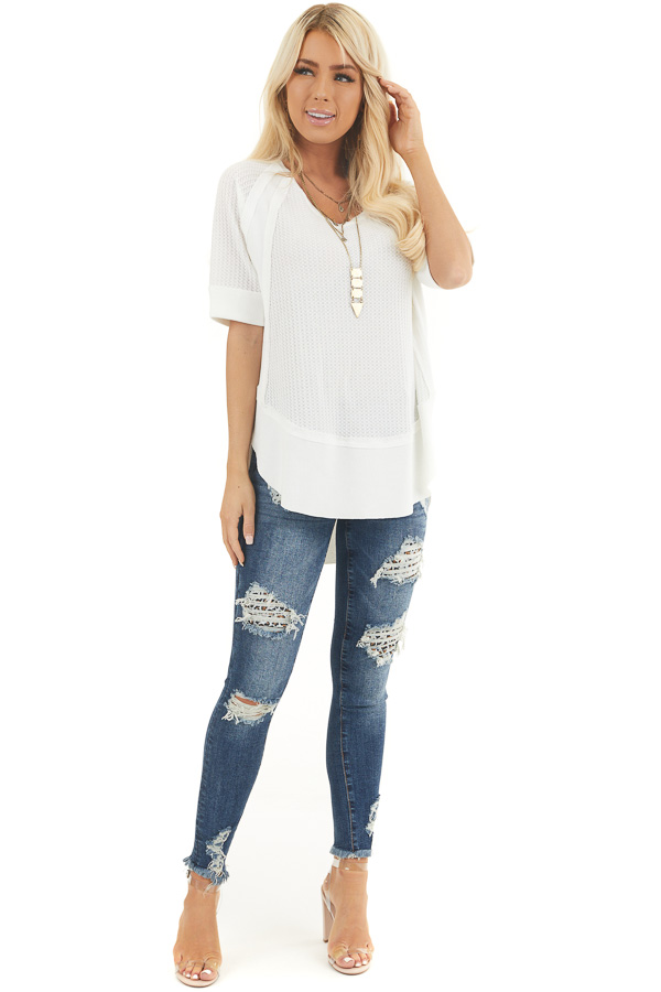 White Short Sleeve Waffle Knit Top with Ribbed Hemline front full body