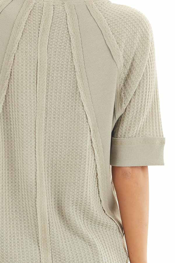 Sage Short Sleeve Waffle Knit Top with Ribbed Hemline detail