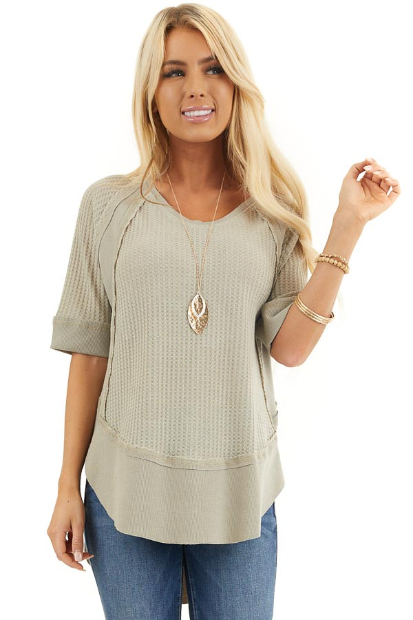 Sage Short Sleeve Waffle Knit Top with Ribbed Hemline front close up