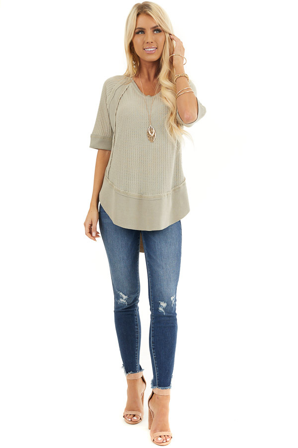 Sage Short Sleeve Waffle Knit Top with Ribbed Hemline front full body