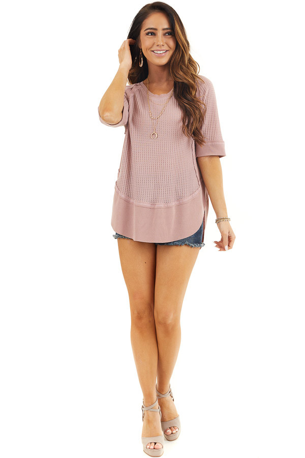 Dusty Rose Short Sleeve Waffle Knit Top with Ribbed Hemline front full body