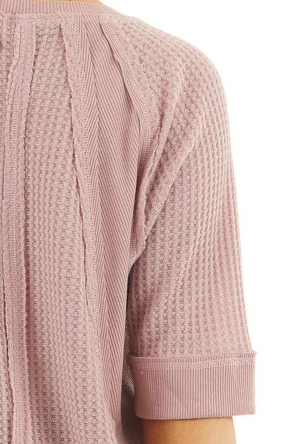 Dusty Rose Short Sleeve Waffle Knit Top with Ribbed Hemline detail