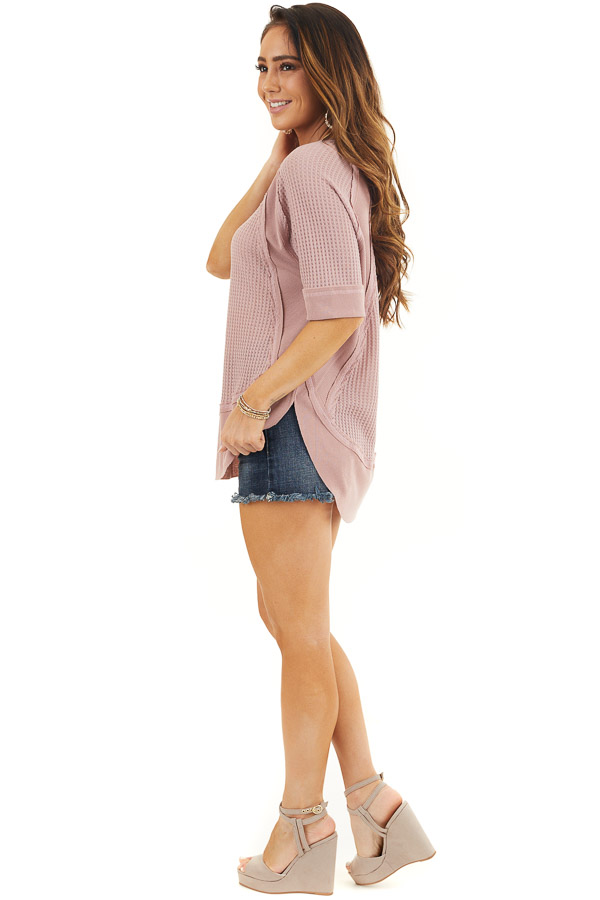 Dusty Rose Short Sleeve Waffle Knit Top with Ribbed Hemline side full body