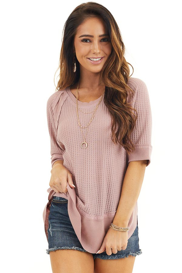 Dusty Rose Short Sleeve Waffle Knit Top with Ribbed Hemline front close up