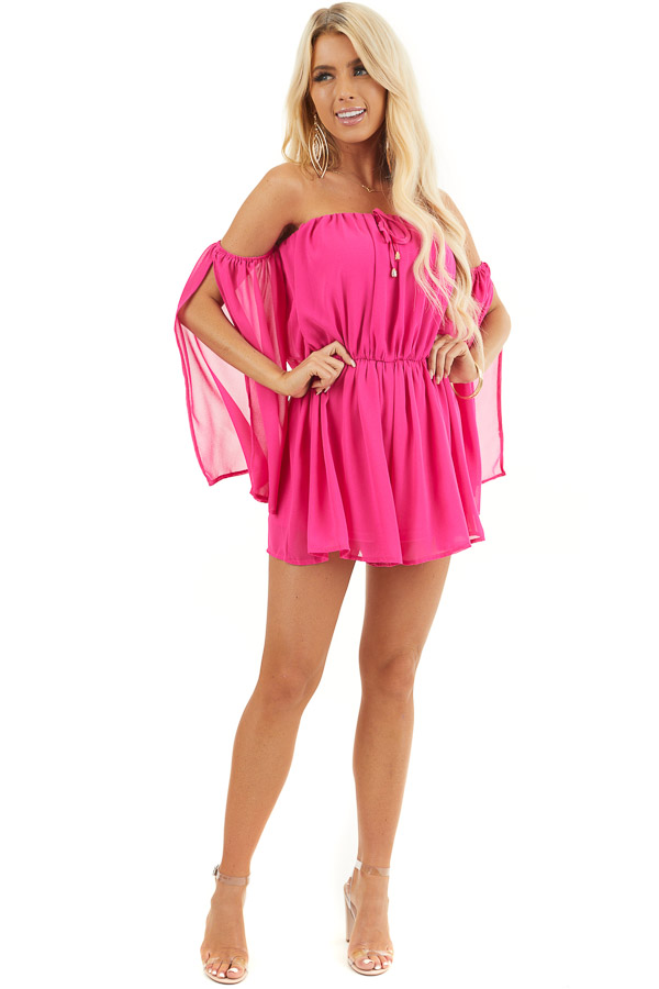 Hot Pink Off the Shoulder Romper with 3/4 length Sleeves front full body