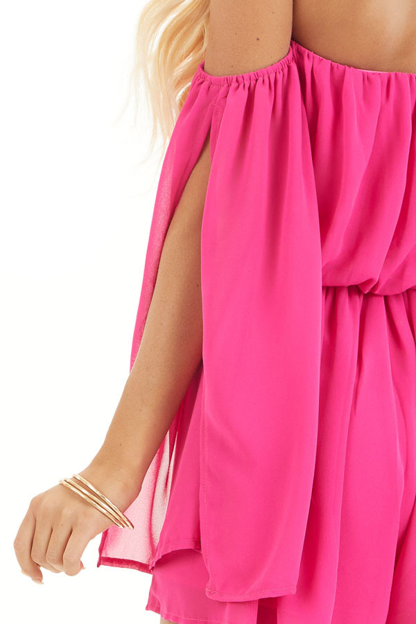 Hot Pink Off the Shoulder Romper with 3/4 length Sleeves detail