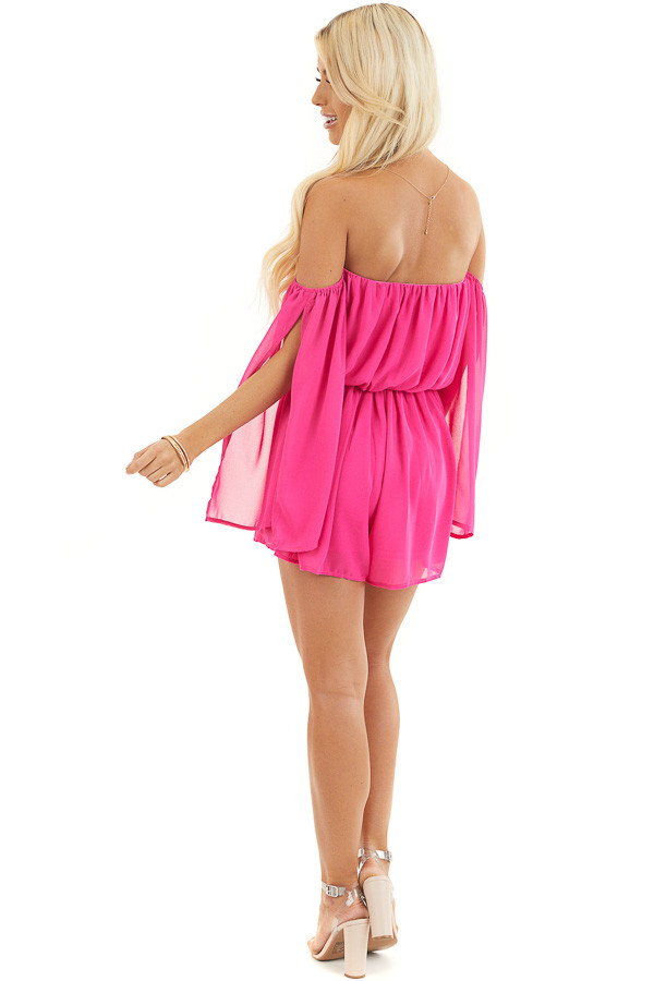 Hot Pink Off the Shoulder Romper with 3/4 length Sleeves back full body