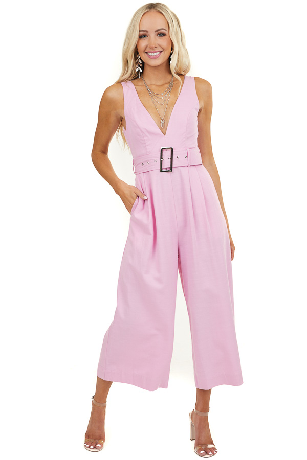 Baby Pink Sleeveless Jumpsuit with Wide Belt