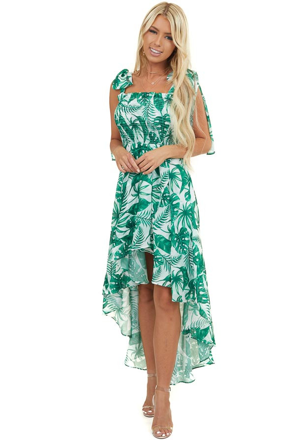 Kelly Green Tropical Print Dress with High Low Hemline