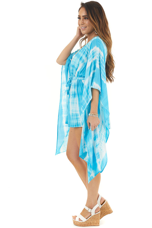 Blue and White Tie Dye Romper with Long Kimono Sleeves side full body