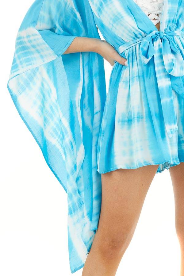 Blue and White Tie Dye Romper with Long Kimono Sleeves detail