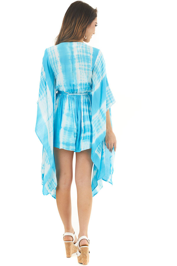 Blue and White Tie Dye Romper with Long Kimono Sleeves back full body