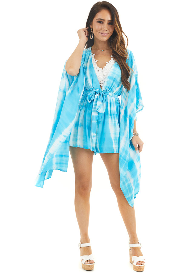 Blue and White Tie Dye Romper with Long Kimono Sleeves front full body
