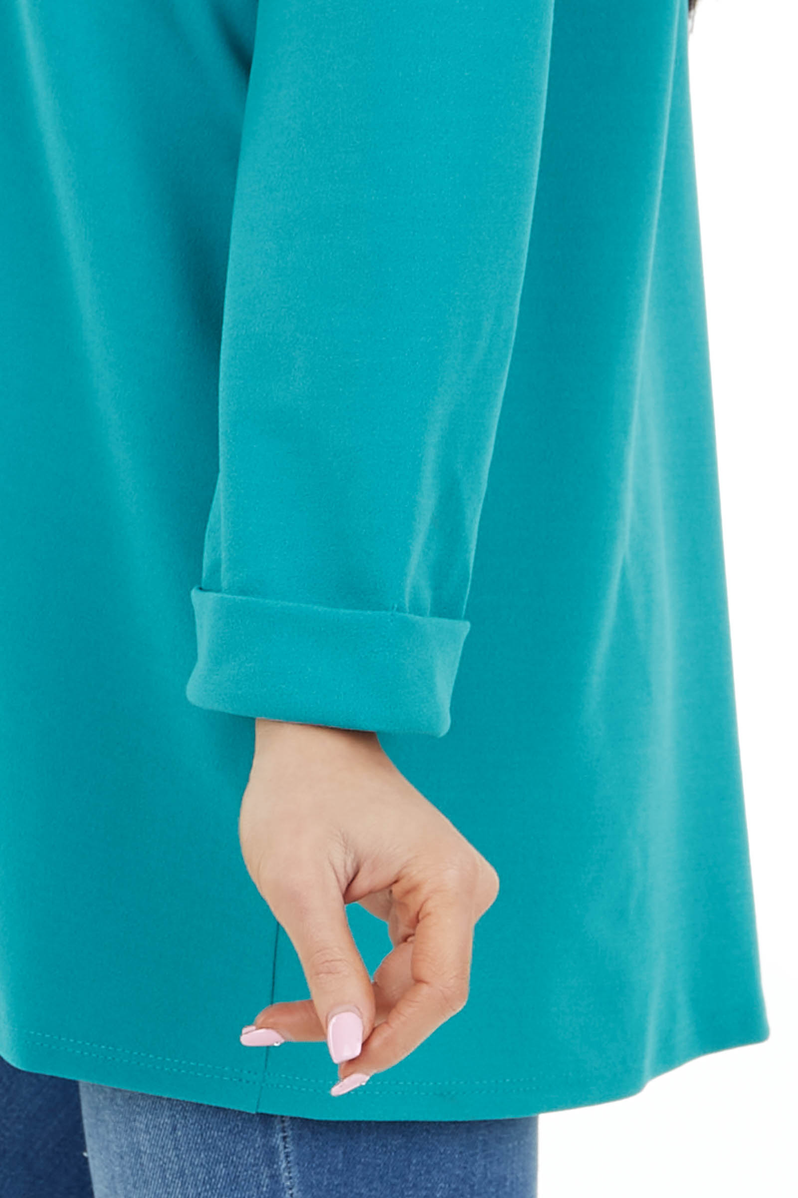 Teal Long Sleeve Open Front Blazer with Cuffs