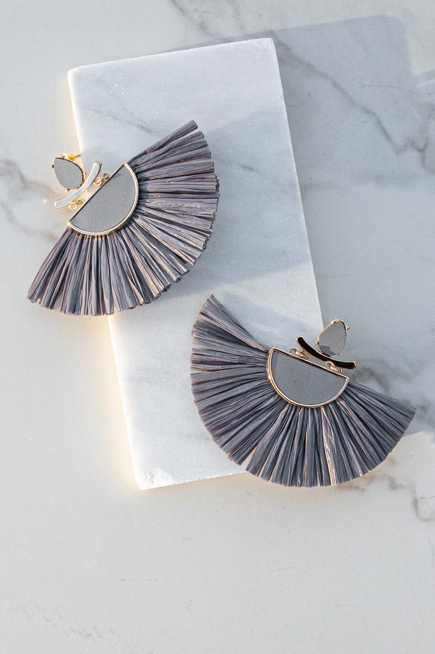 Slate Grey Chandelier Earrings with Raffia Fringe Detail