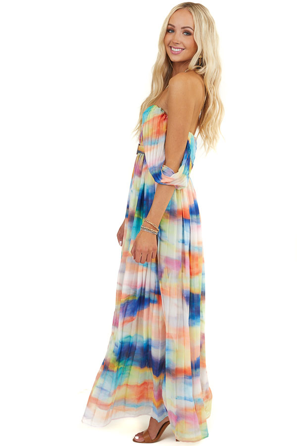 Multicolor Off the Shoulder Maxi Dress with Accordion Detail