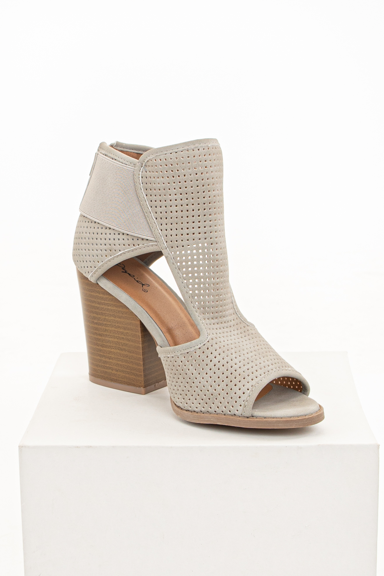 Soft Grey Perforated Heeled Booties with Side Cutout