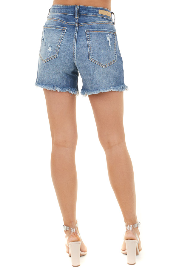 Dark Wash Denim Distressed Shorts with Frayed Hem
