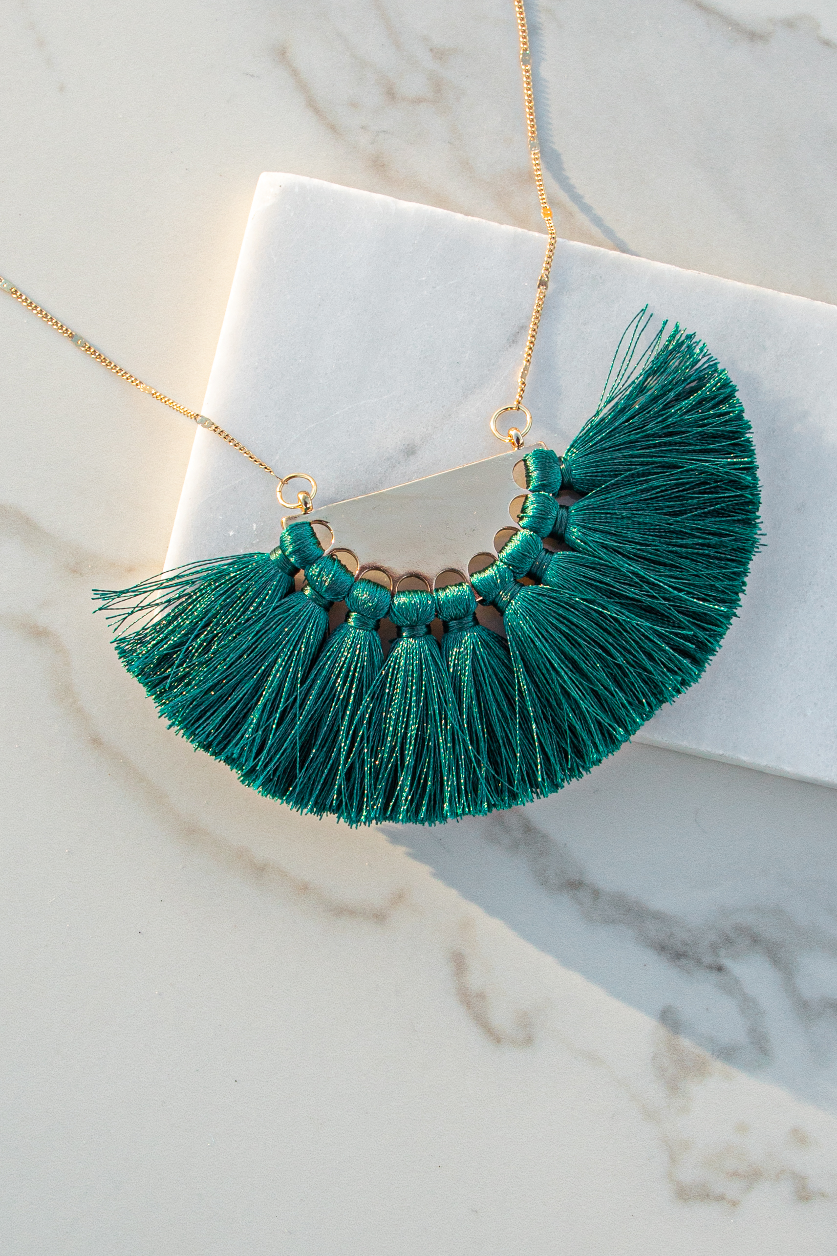 Gold Long Necklace with Large Hunter Green Fringe Pendant