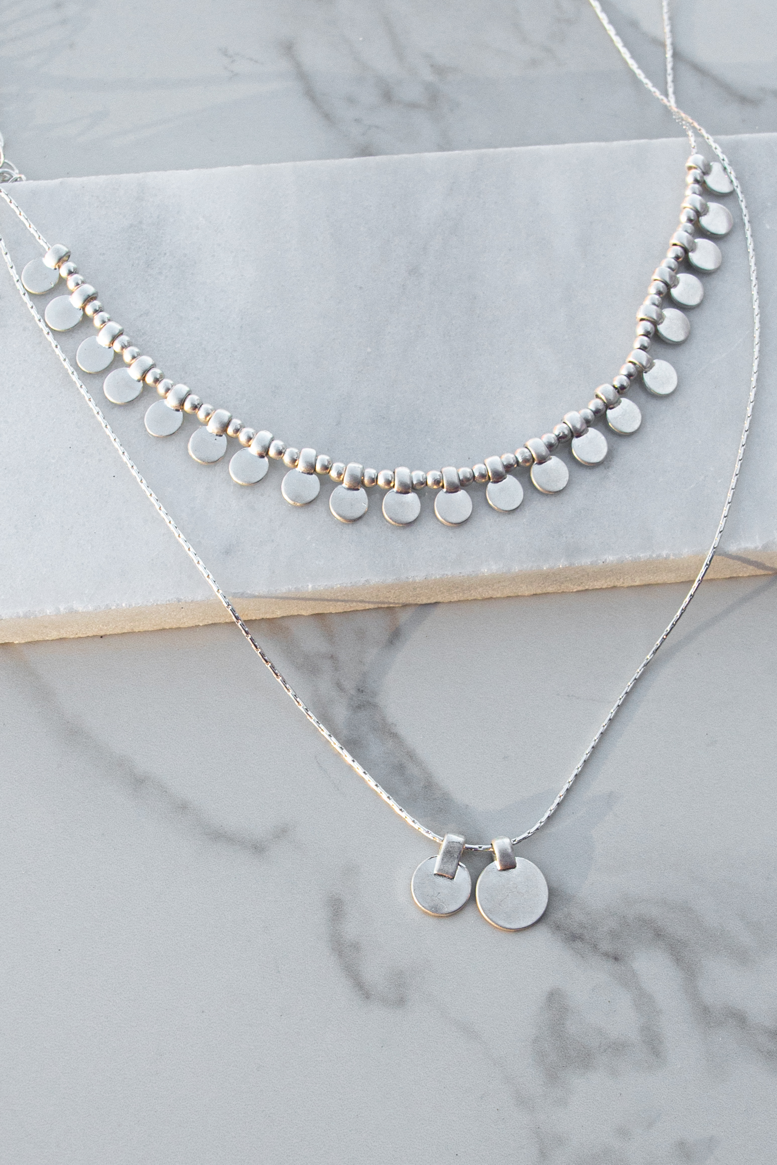 Brushed Silver Necklace Set with Coin Pendants