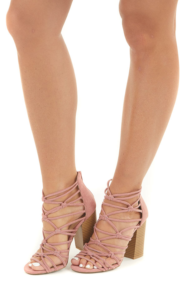 Dusty Rose Strappy Heels with Open Toe and Knot Details