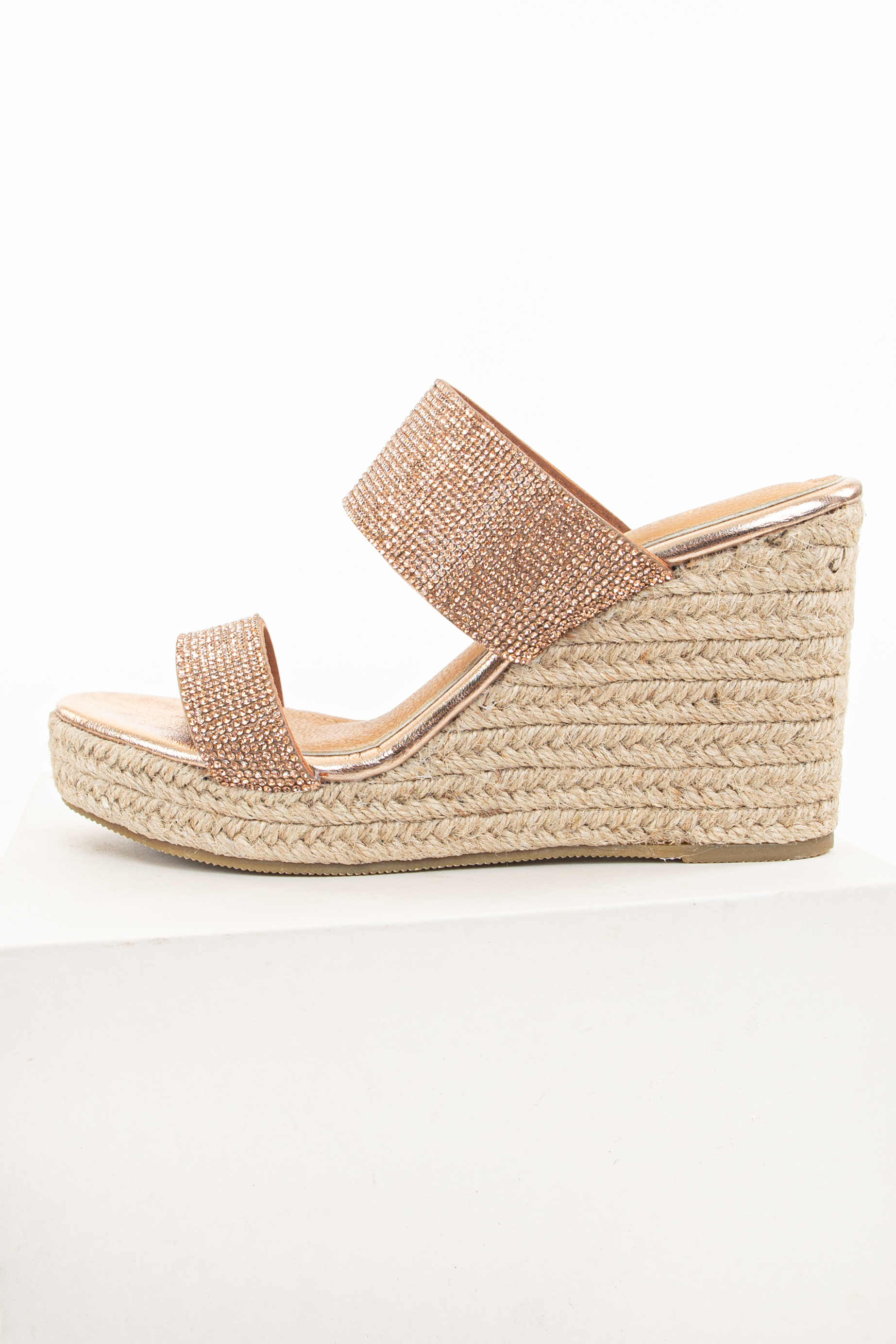 Rose Gold Espadrille Wedges with Rhinestone Details