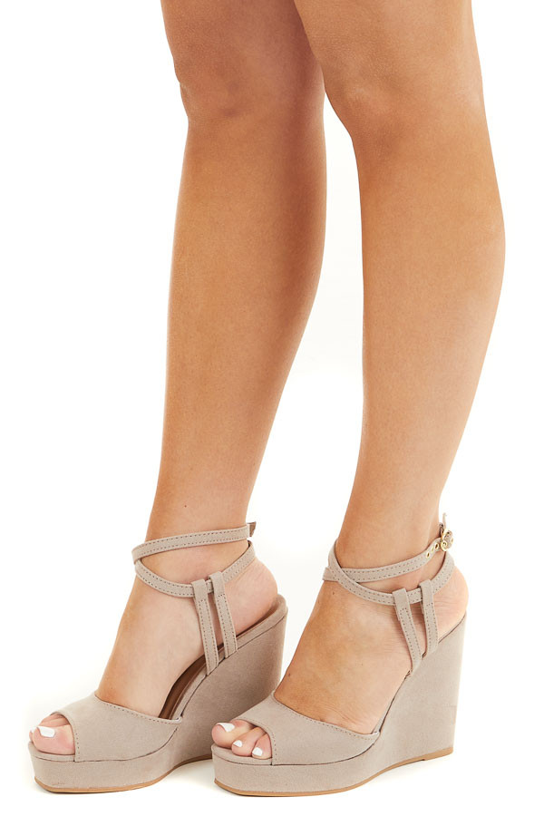 Taupe Faux Suede Wedges with Ankle Strap and Open Toe