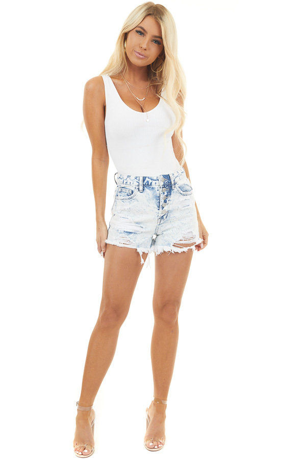 Light Acid Wash Button Up Shorts with Distressed Details front full body