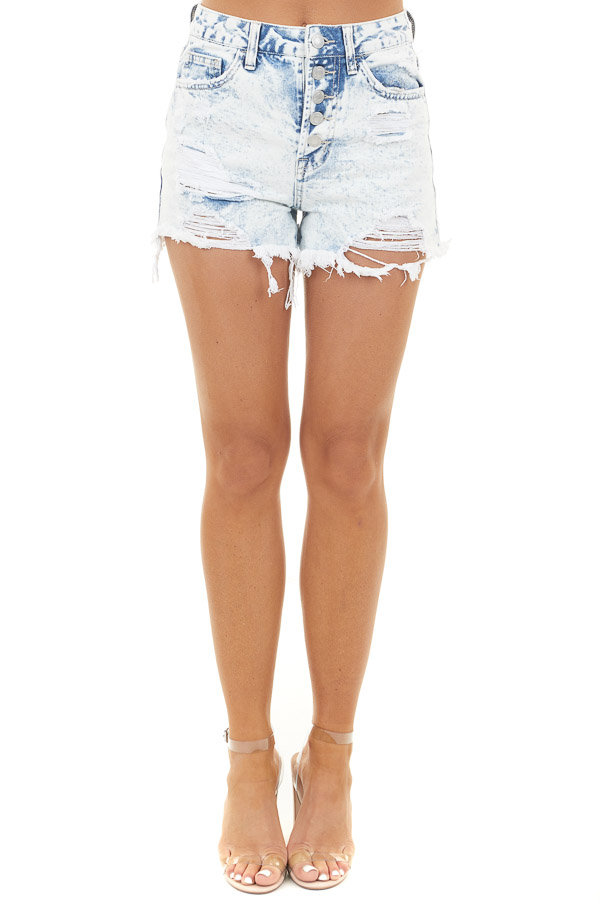 Light Acid Wash Button Up Shorts with Distressed Details front view