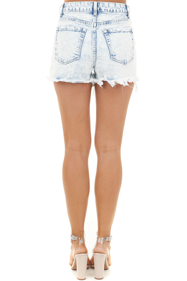 Light Acid Wash Button Up Shorts with Distressed Details back view