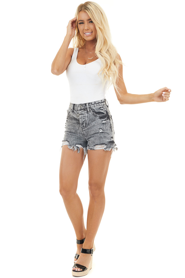 Charcoal Acid Wash Button Up Shorts with Distressed Details