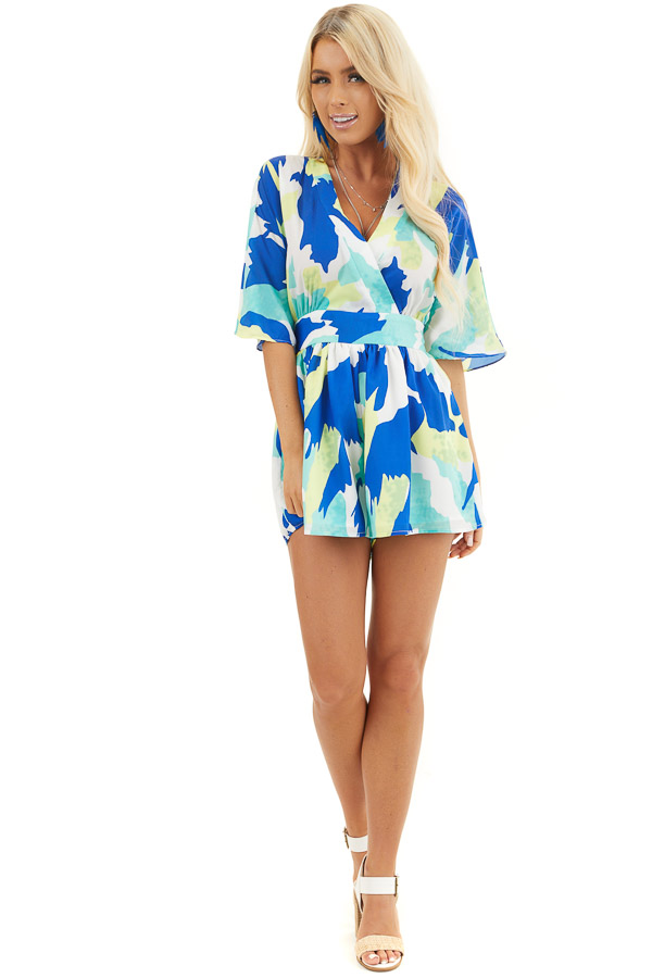 Multicolor Abstract Patterned Surplice Romper with Waist Tie front full body