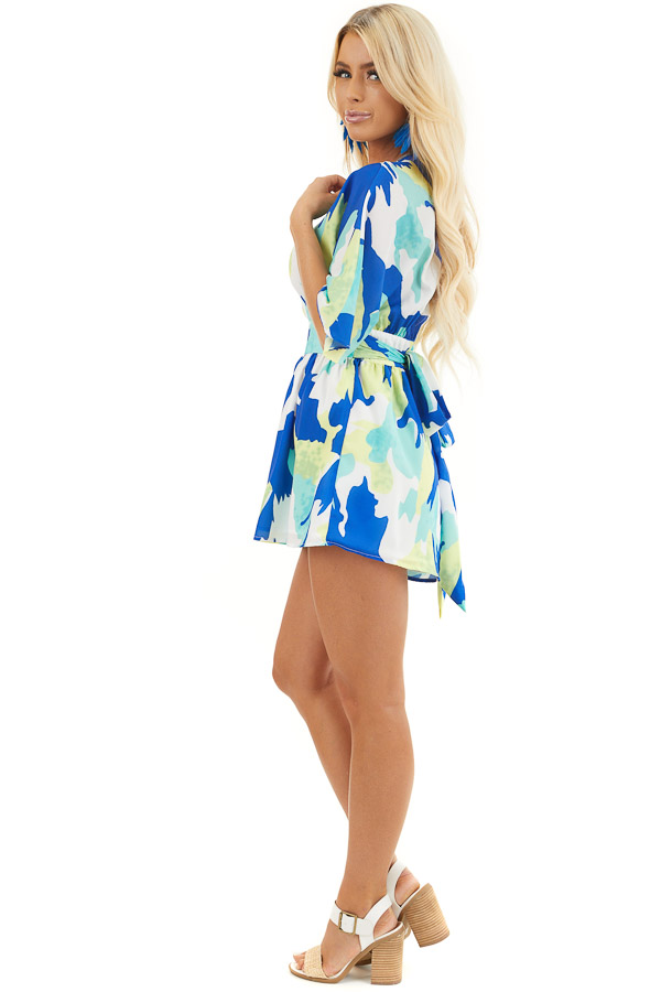 Multicolor Abstract Patterned Surplice Romper with Waist Tie side full body