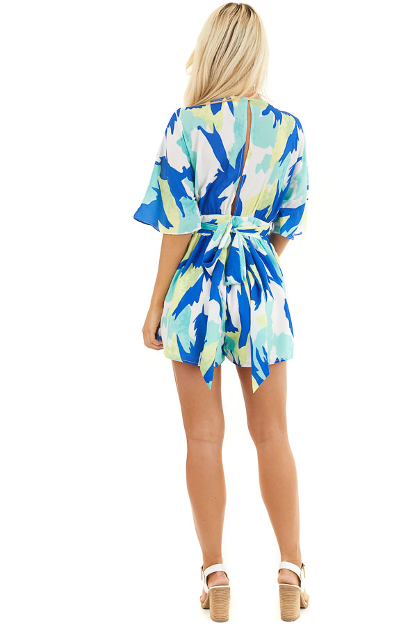 Multicolor Abstract Patterned Surplice Romper with Waist Tie back full body