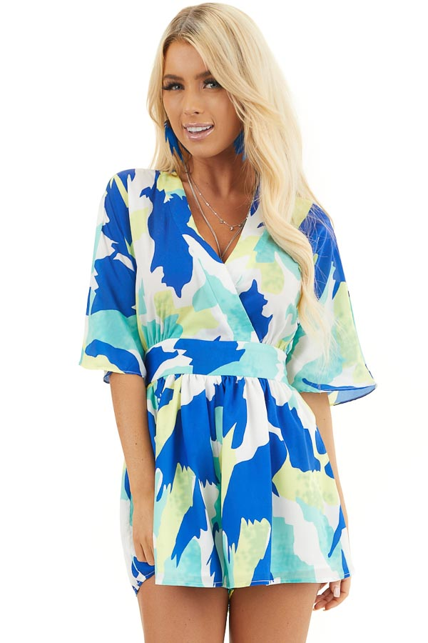 Multicolor Abstract Patterned Surplice Romper with Waist Tie front close up