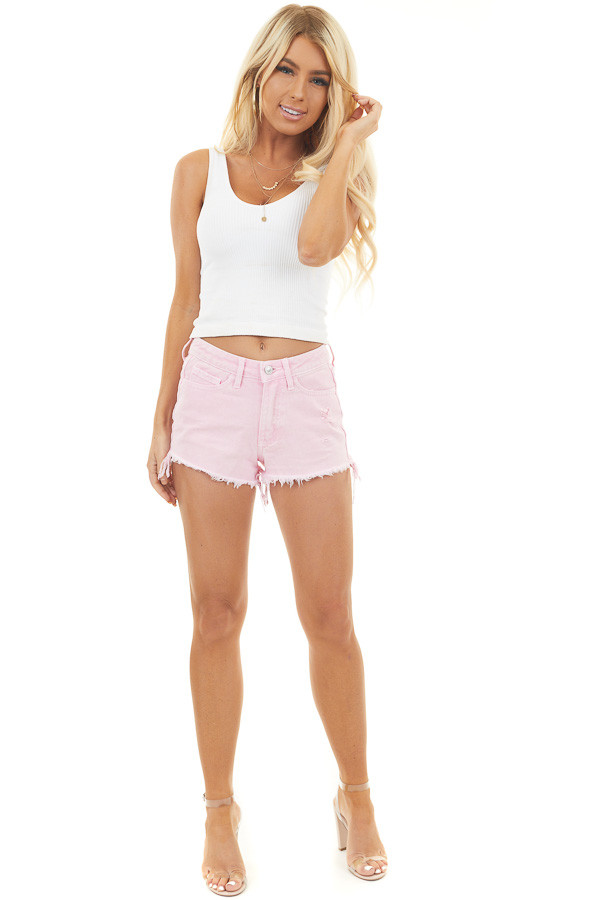 Baby Pink High Rise Shorts with Distressed Details