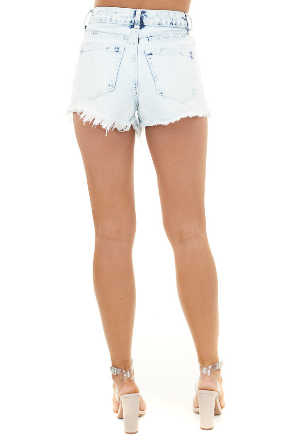 Light Acid Wash High Rise Denim Shorts with Distressing