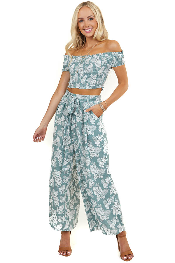 Sage Floral Print Crop Top and Wide Leg Pants Two Piece Set
