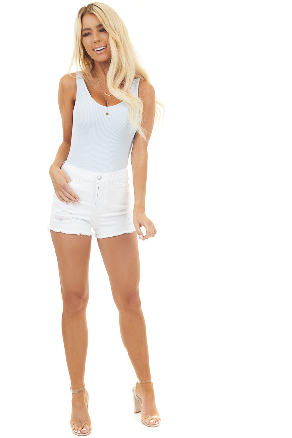 White High Rise Button Up Shorts with Distressed Details