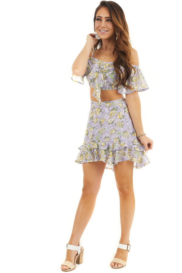 Lavender Floral Crop Top and Mini Skirt Two Piece Set front full body